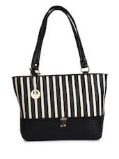 Black Leatherette Striped Handbag - By