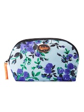 Light Blue Floral Print Travel Pouch - Be... For Bag