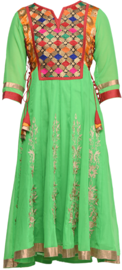 Green Embroidered Georgette Kurta