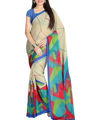 multi chiffon printed saree with blouse