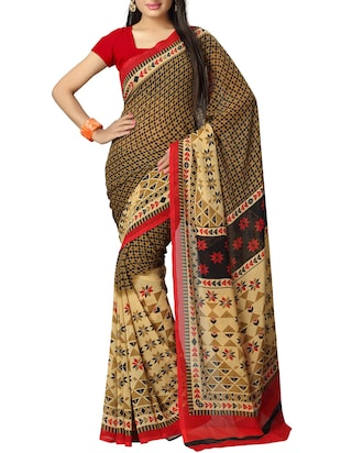 multi georgette printed saree