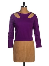 Purple Cut -Out Neck Crop Top - Miss Chase