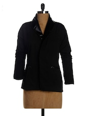 Solid Black Crepe Jacket - Miss Chase