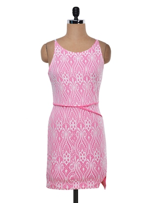 Pink polyknit printed dress