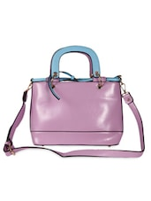 Color Blocked Lavender And Sky Blue Tote - Thegudlook