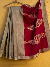 Brown Cotton Silk Saree - Cotton Koleksi
