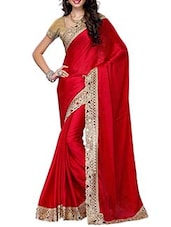 Pink Satin Bordered  Saree - By