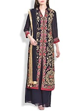 Navy Blue Floral Embroidered Suit Set - By