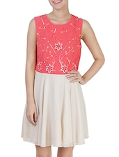 Pink- Beige Colored, Georgette Fit And Flare Dress With Sequin Work And Beads - By