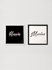 Black , White Colored Love Wall Décor With Glass Front And MDF Back - By